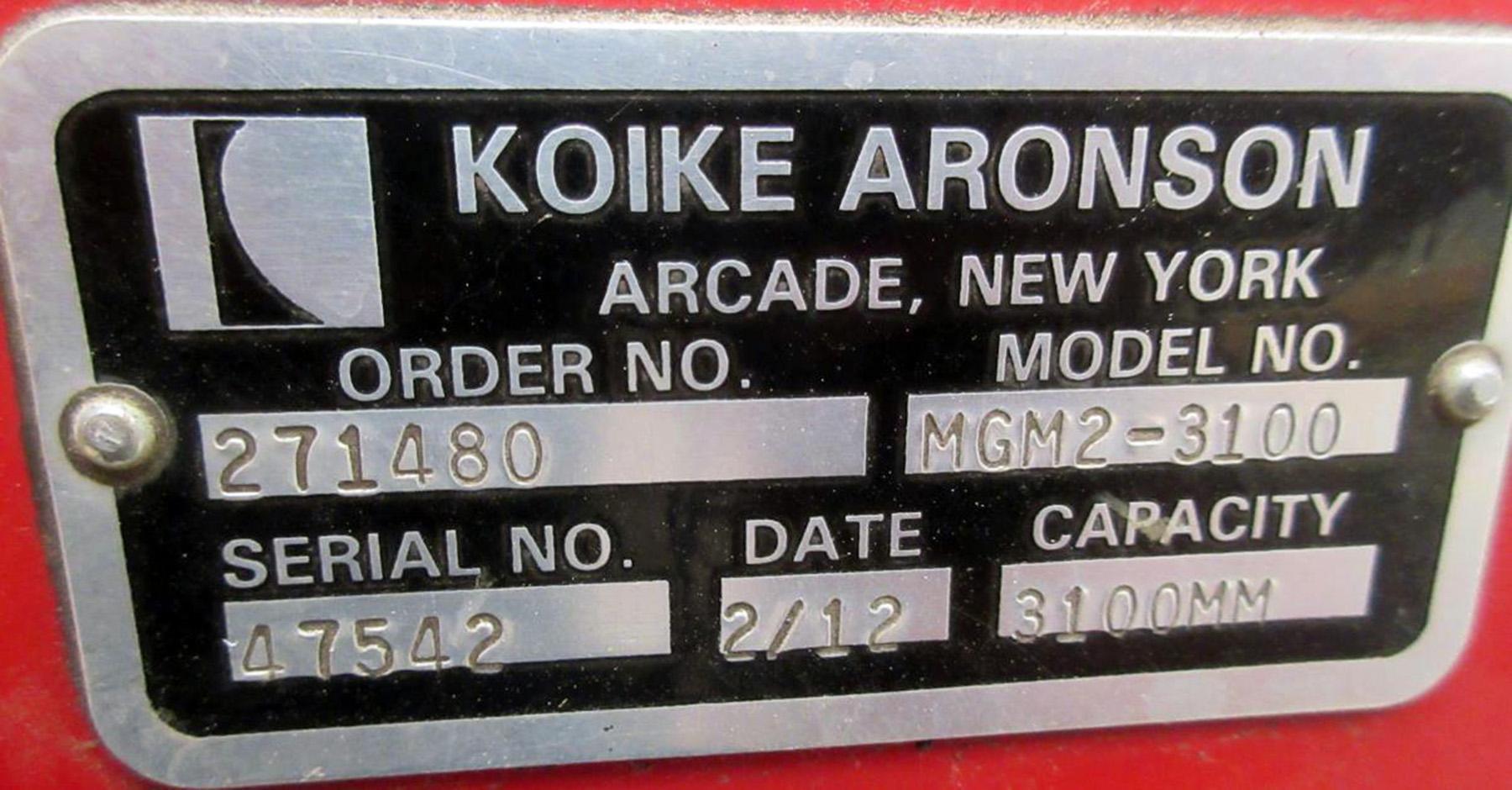 USED, 10' x 40' KOIKE ARONSON MASTERGRAPH-II MILLENIUM SERIES CNC PLASMA CUTTING MACHINE, NEW 2012