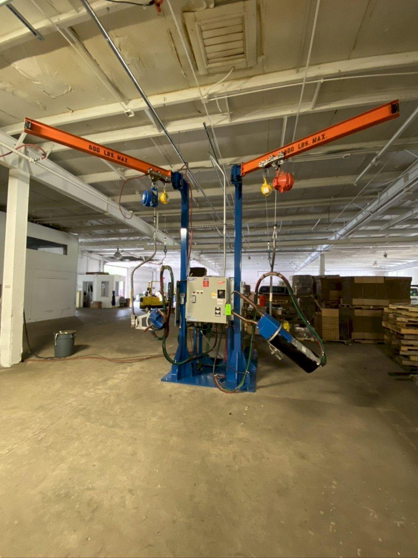 MILCO MFG DUAL BOOM WELD GUN STATION, TRANS WELD UNIT, 36 KVA, (2) BOOMS, (1) FRAME, WTC-6001 CONTROLS, CHILLER, COOLANT TANK