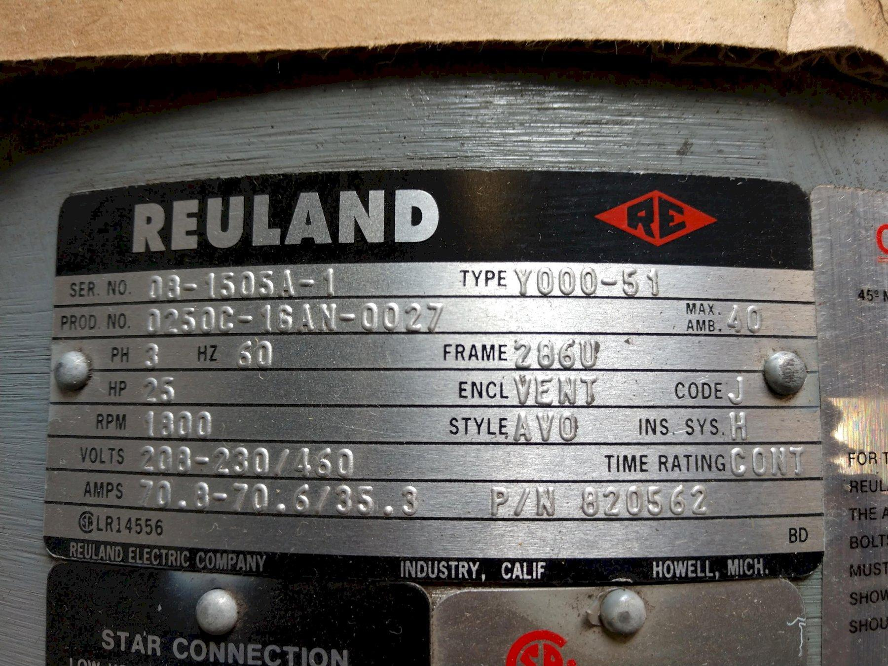 25 HP REULAND MODEL #Y000-51 ELECTRIC AC MOTOR WITH VICKERS #2520V PUMP MOUNT: STOCK 13417