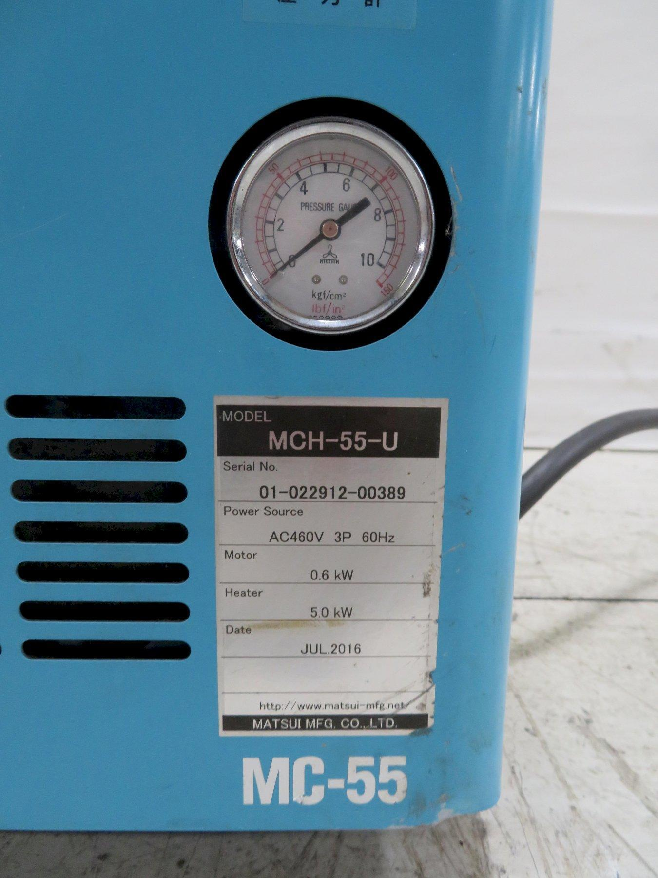 Matsui Used MC-55-U Mold Temperature Controller, 0.8 hp, 5kw, 460V, Yr. 2016