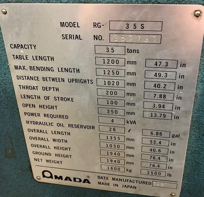 "35 TON AMADA RG35S PRESS BRAKE, Automec CNC 150 Backgauge, 49.2"" OA, 40.2"" BH, 10.2"" Shut, 4"" str, 2014 Retrofit."