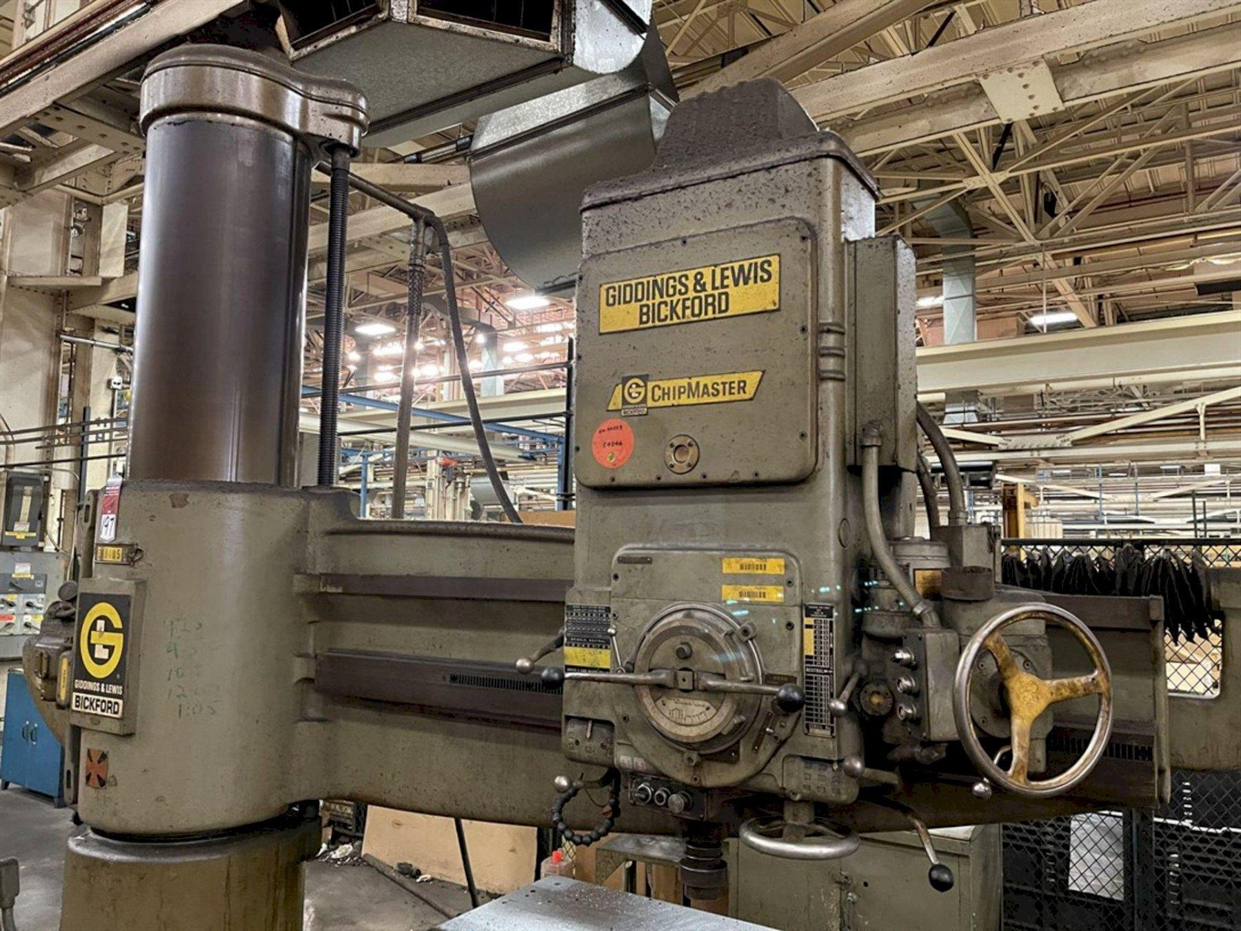 """7' X 19"""" GIDDINGS & LEWIS BICKFORD CHIPMASTER RADIAL ARM DRILL. STOCK # 0520921"""