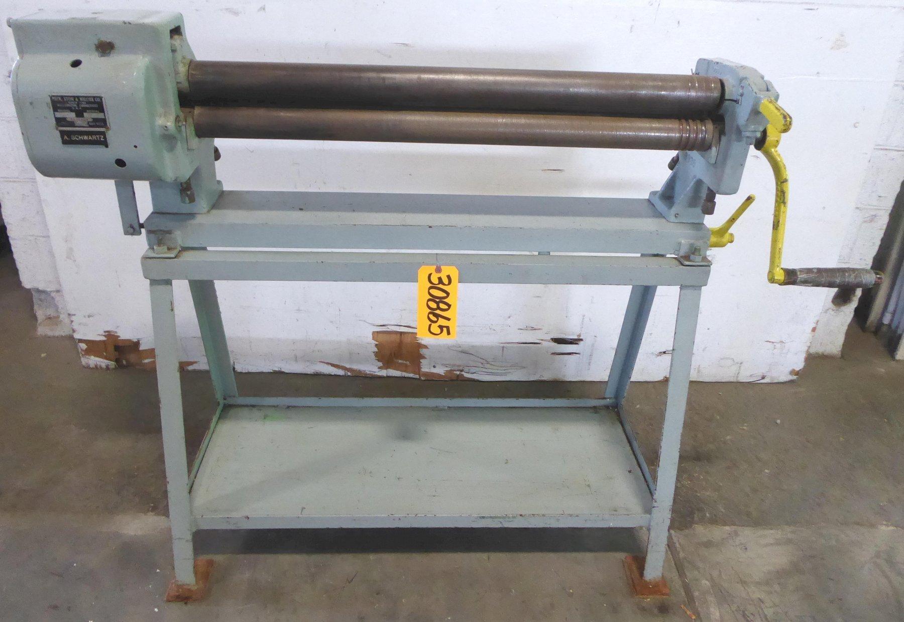 36″ x 16-18 Ga. PEXTO No. 390-E, 2-1/2″ Dia. Rolls, Floor Stand, Nice
