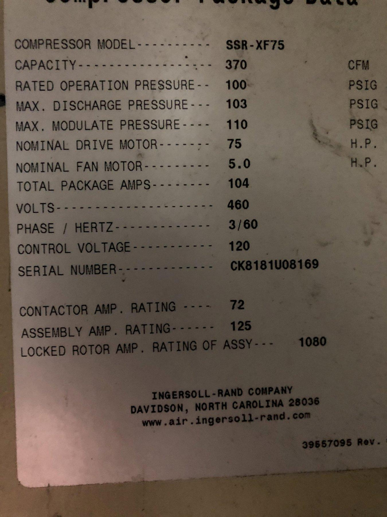 2008 Ingersol Rand model ssr-xf75 screw type air compressor s/n ck8181u08169, digital readout
