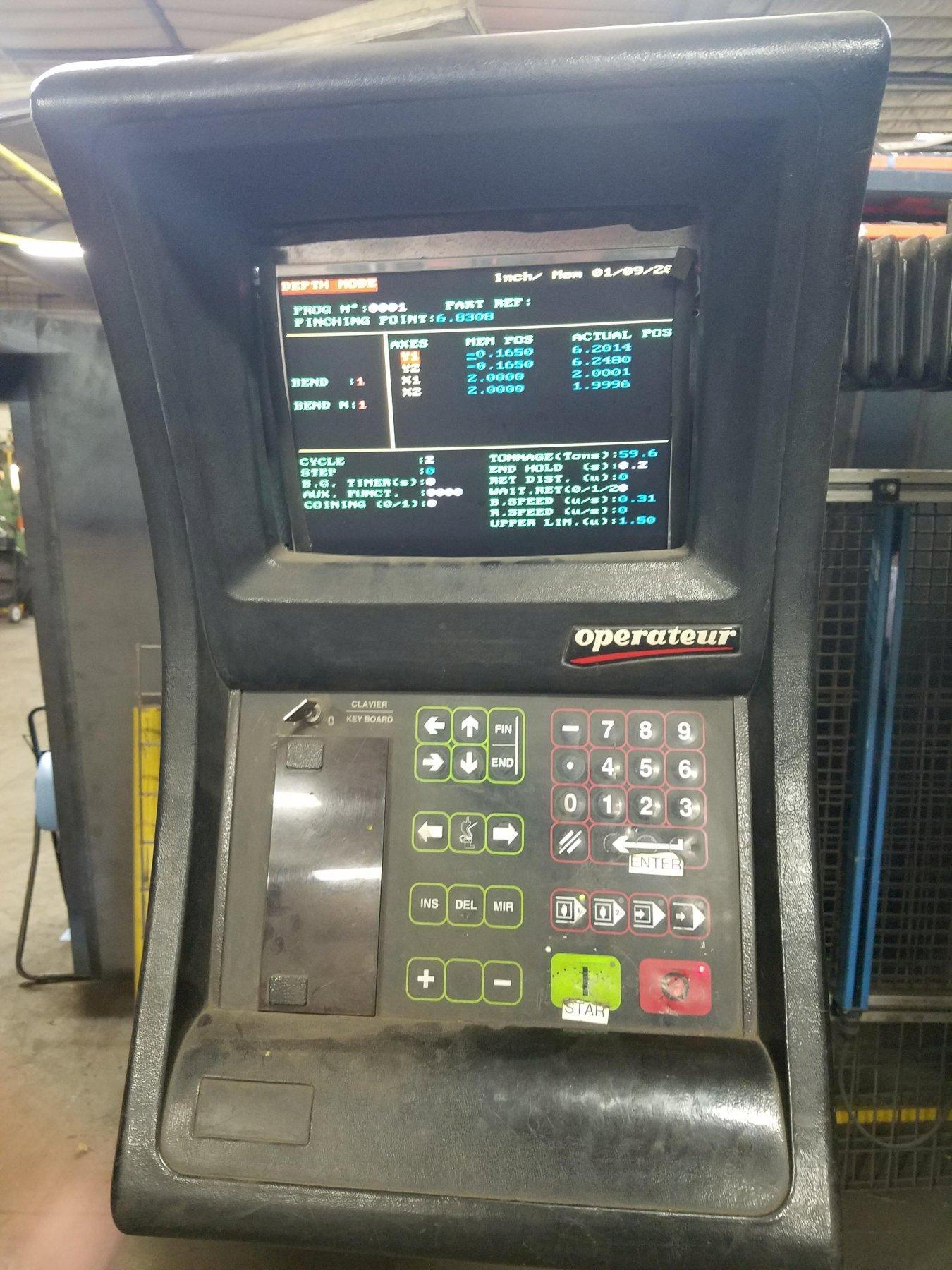 """187 TON AMADA HFB 170-40, 167""""/148"""" LENGTH, OPERATOR 8 AXIS CONTROL, 6 AXIS BACK GAUGE, 4 WORK STOPPERS, 1995"""