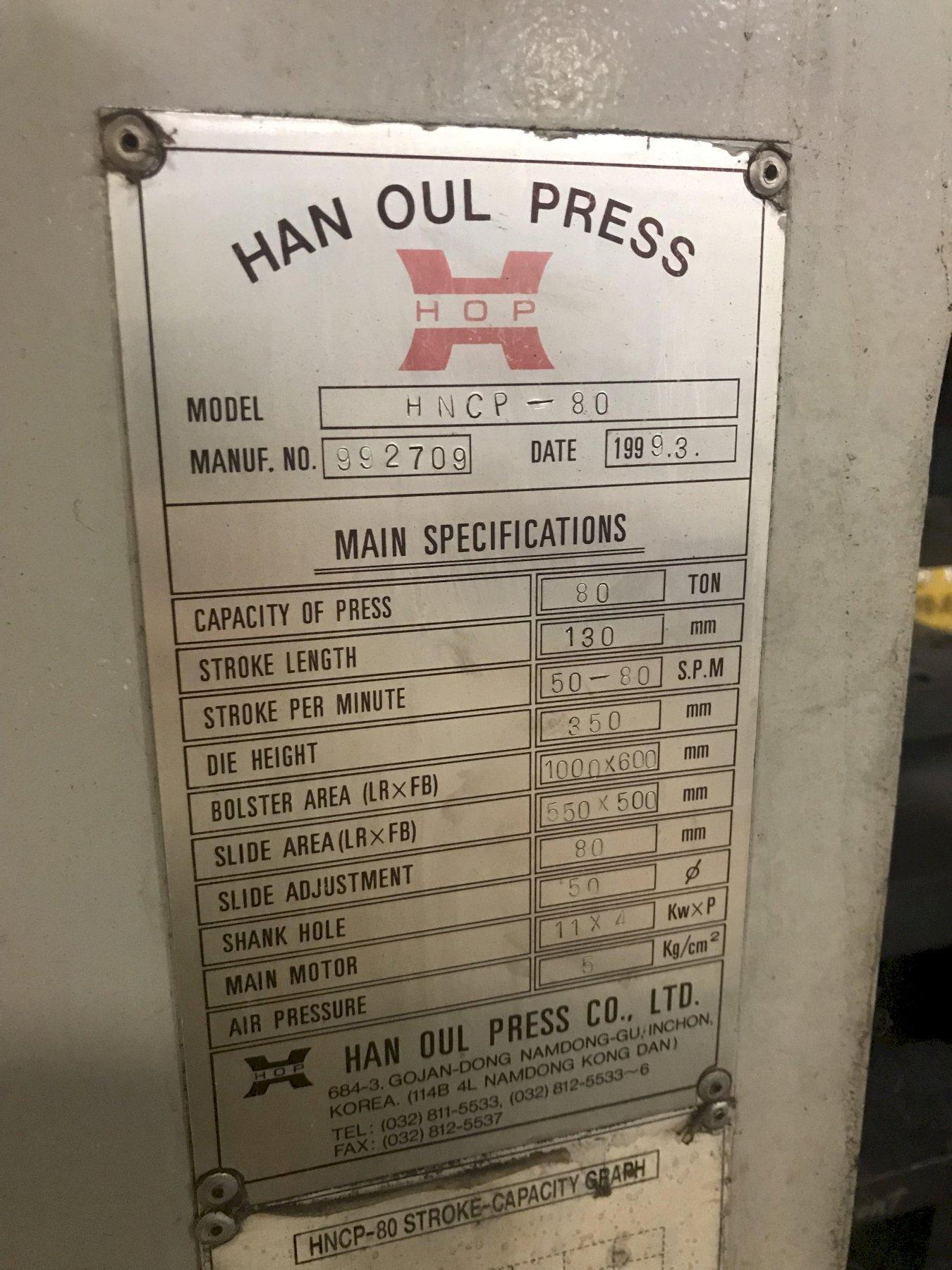 80 TON HAN OUL MODEL HNCP-80 GAP FRAME PRESS W/ 12' COE SERVO FEEDER: S