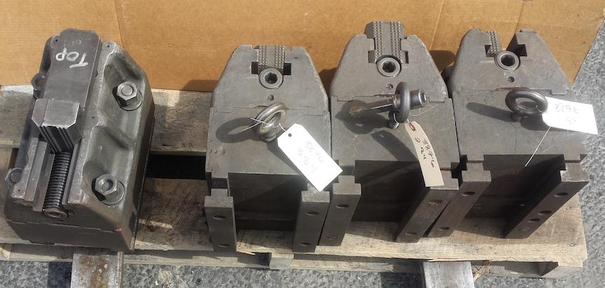 "Set of (4) 12"" Boring Mill Jaws with Riser Blocks"