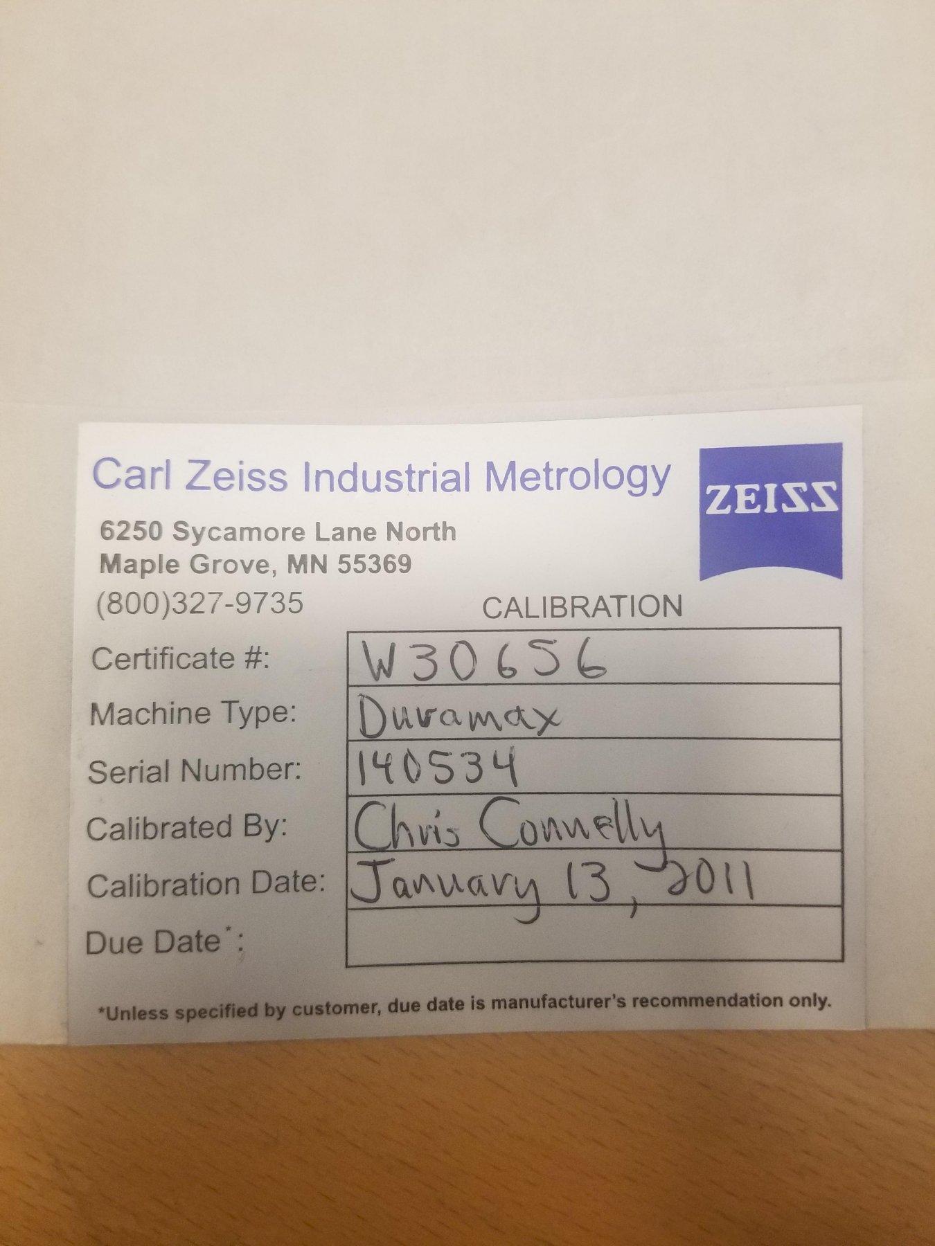 ZEISS2010 Zeiss Duramax 5/5/5 DCC Coordinate Measuring Machine (CMM)