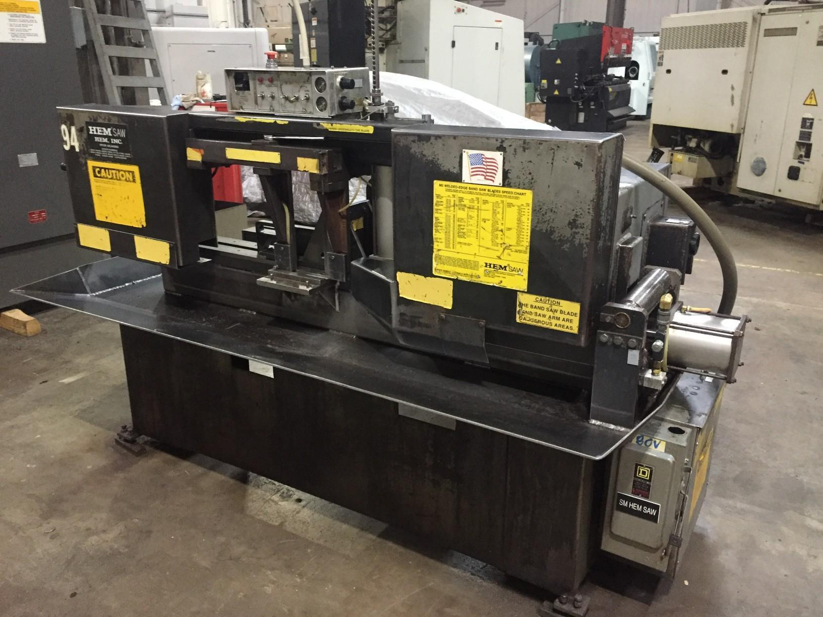 PREOWNED HEMSAW AUTOMATIC HORIZONTAL BAND SAW, MODEL #: H90A B/F, S/N: 437695, YEAR: 1995