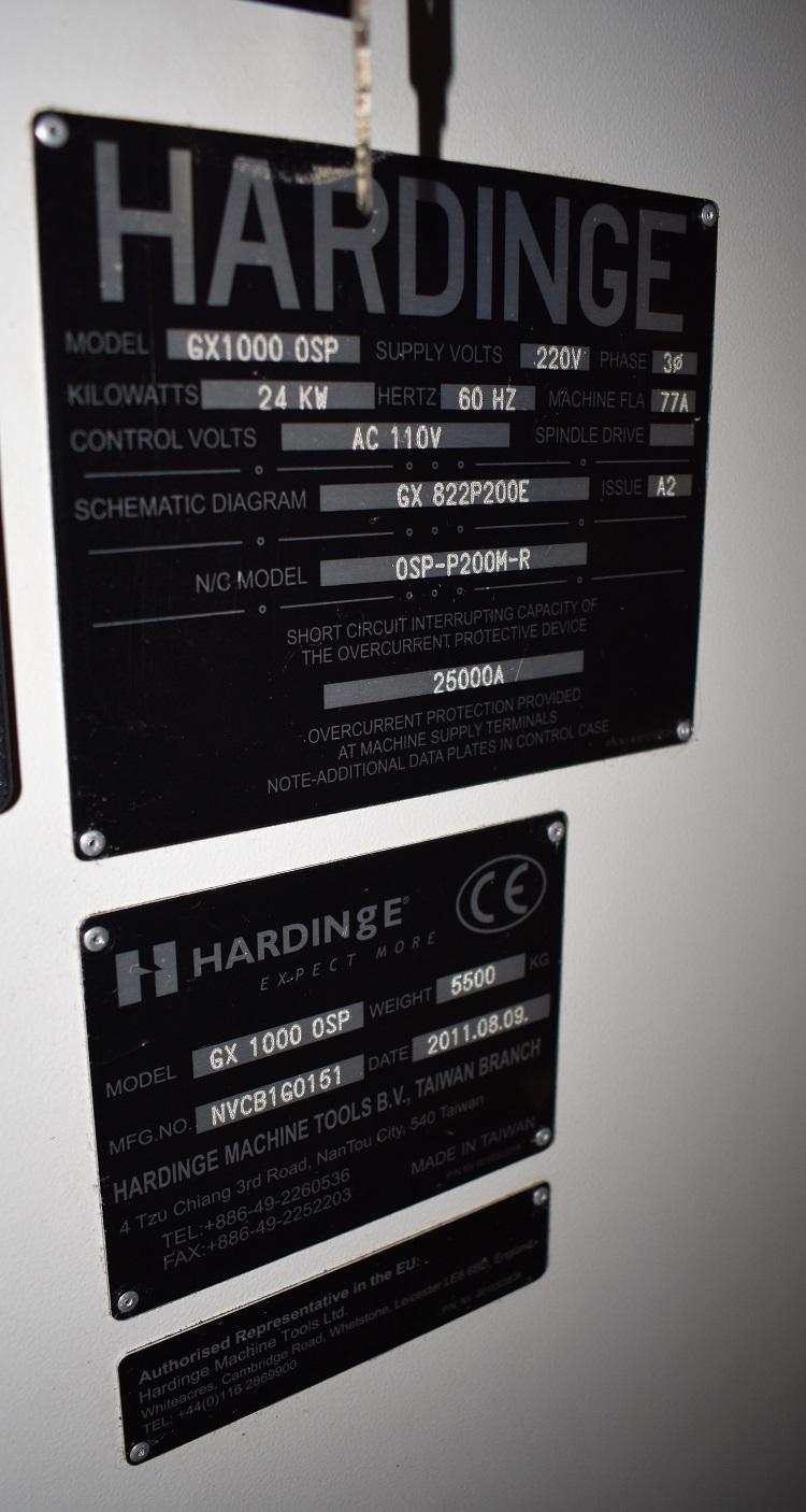 "HARDINGE GX-1000, OSP-P200 CNC Control, 44"" x 21"" Table, X=40"", Y=21"", Z=21"", 40 Taper, 10,000 RPM, New 2011."