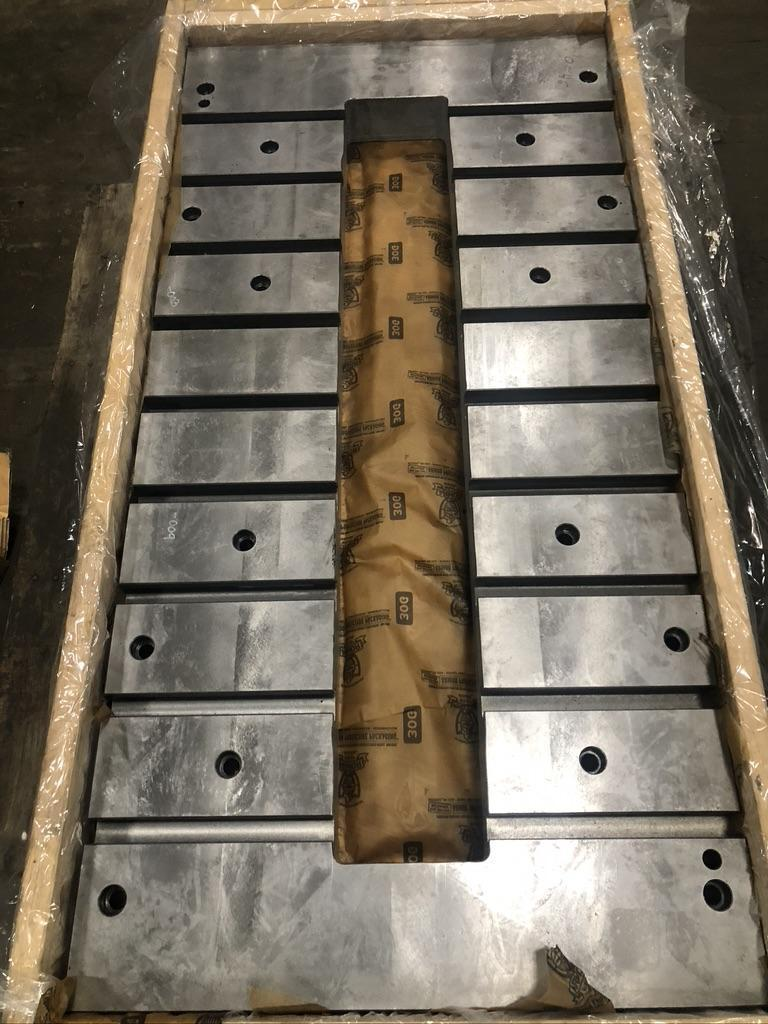 """31.5"""" x 63""""  T-Slotted Minster bolster plate, 7.5"""" x 51.2"""" cutout, 3.94"""" thick, 9 t-slots"""
