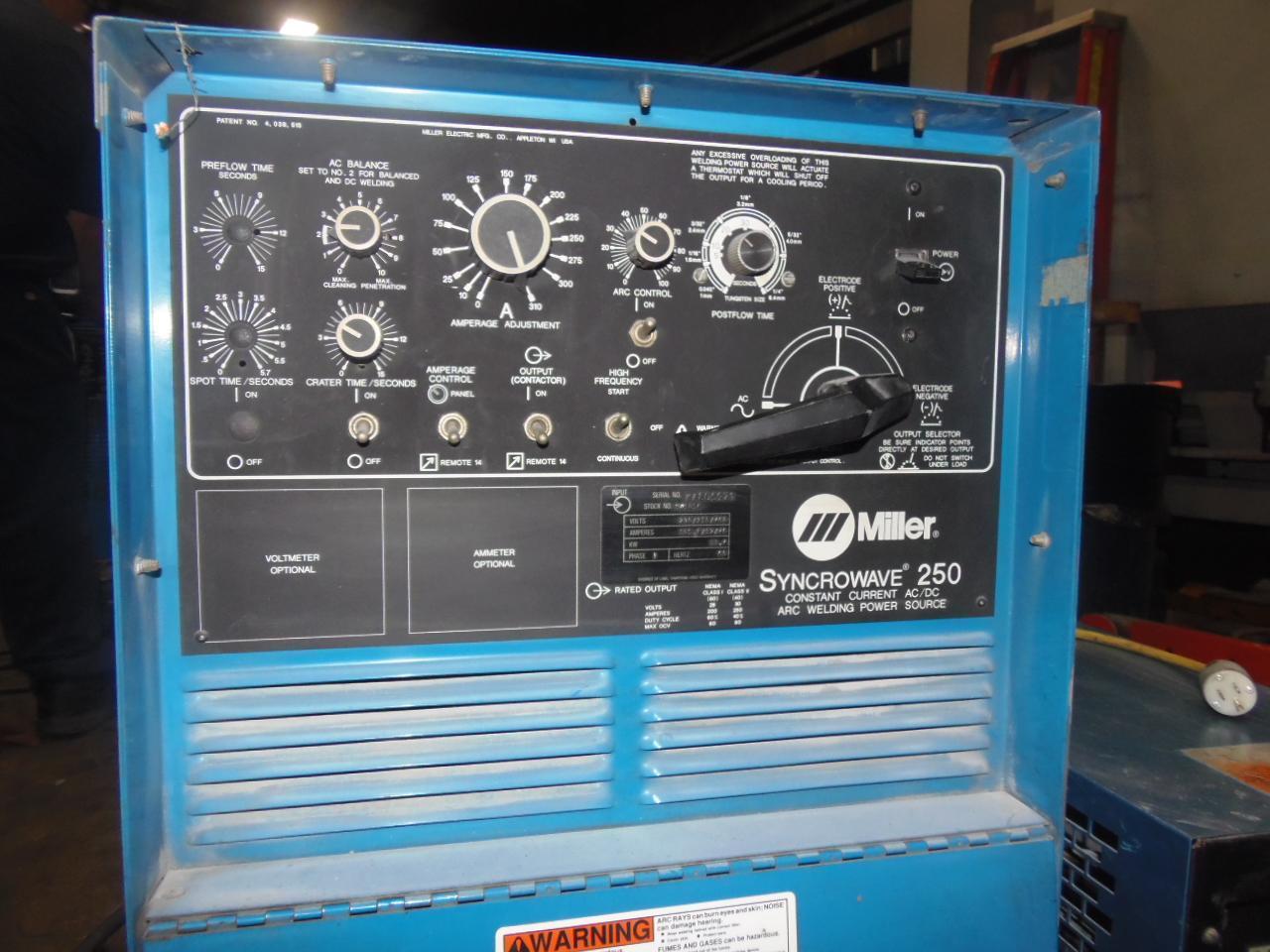 MILLER TIG WELDER, SYNCROMAX 250, MILLER RADIATOR 1 COOLER