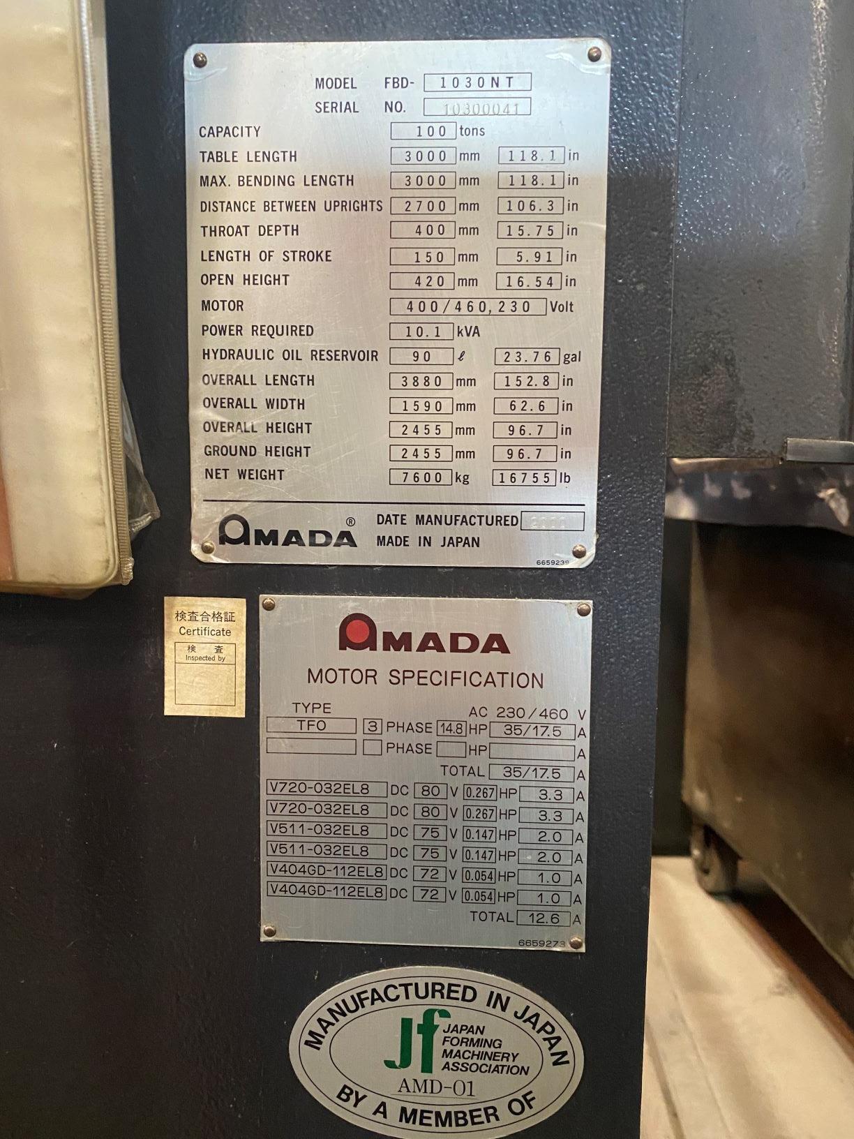AMADAAmada FBD1030NT 110 TONS X 10',  8 -AXIS AMADA NT-CNC CONTROLS