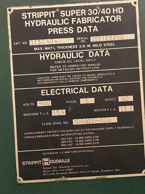 USED, STRIPPIT 40 TON SUPER 30/40 HD HYDRAULIC PUNCH PRESS