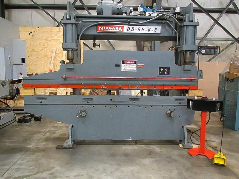 55 Ton x 10 ft. Niagara Hydraulic Press Brake Model HD-55-6-8 w/ Single Axis CNC Back Gauge and 2 ft. Horn Extension