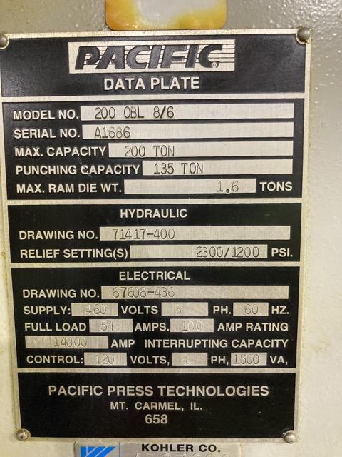200 Ton Pacific Hydraulic Press