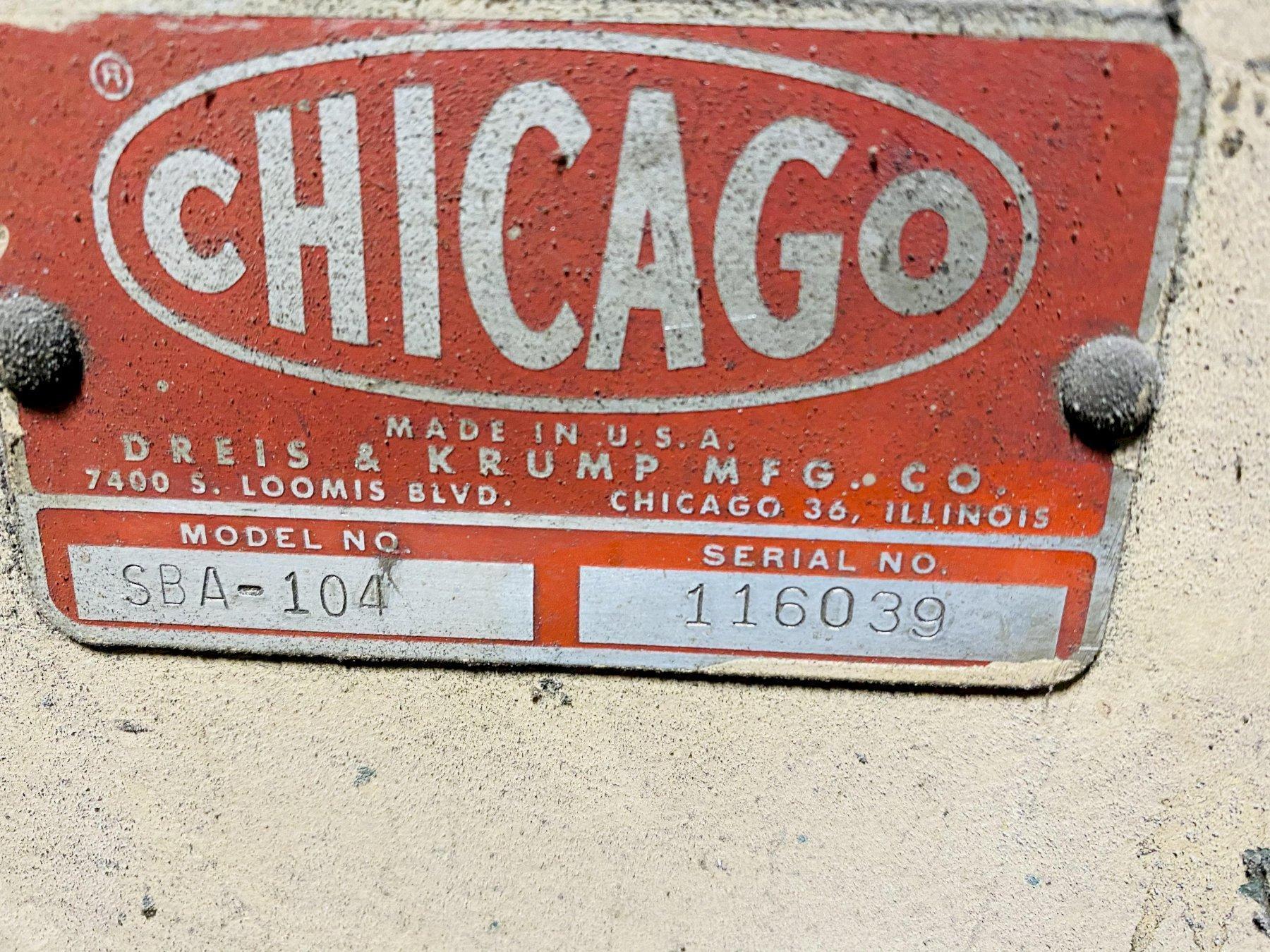 16 GAUGE X 10' CHICAGO DRIES & KRUMP MODEL SBA-104 SPEEDIBENDER SHEET BENDER BRAKE. STOCK # 1263620