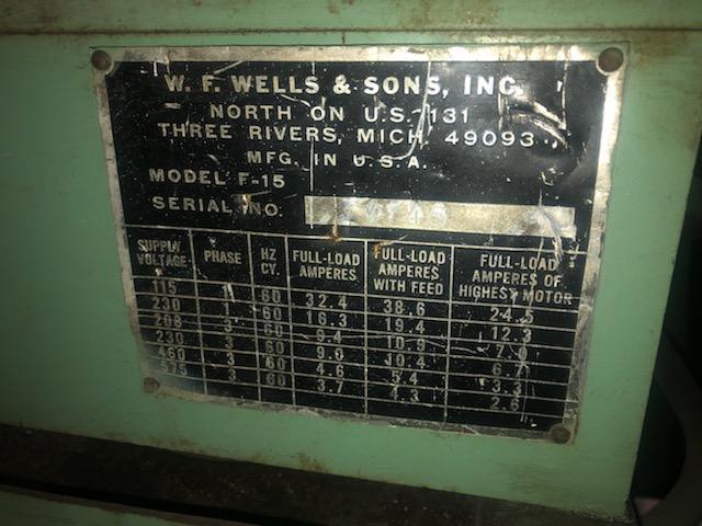 "15"" X 17"" W. F. WELLS & SONS INC F - 15 TWIN POST HORIZONTAL BAND SAW"
