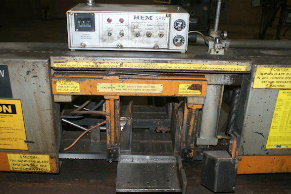 "USED HEM AUTOMATIC HORIZONTAL BANDSAW, Model H-75A, 9"" x 11"", Stock No. 8276"