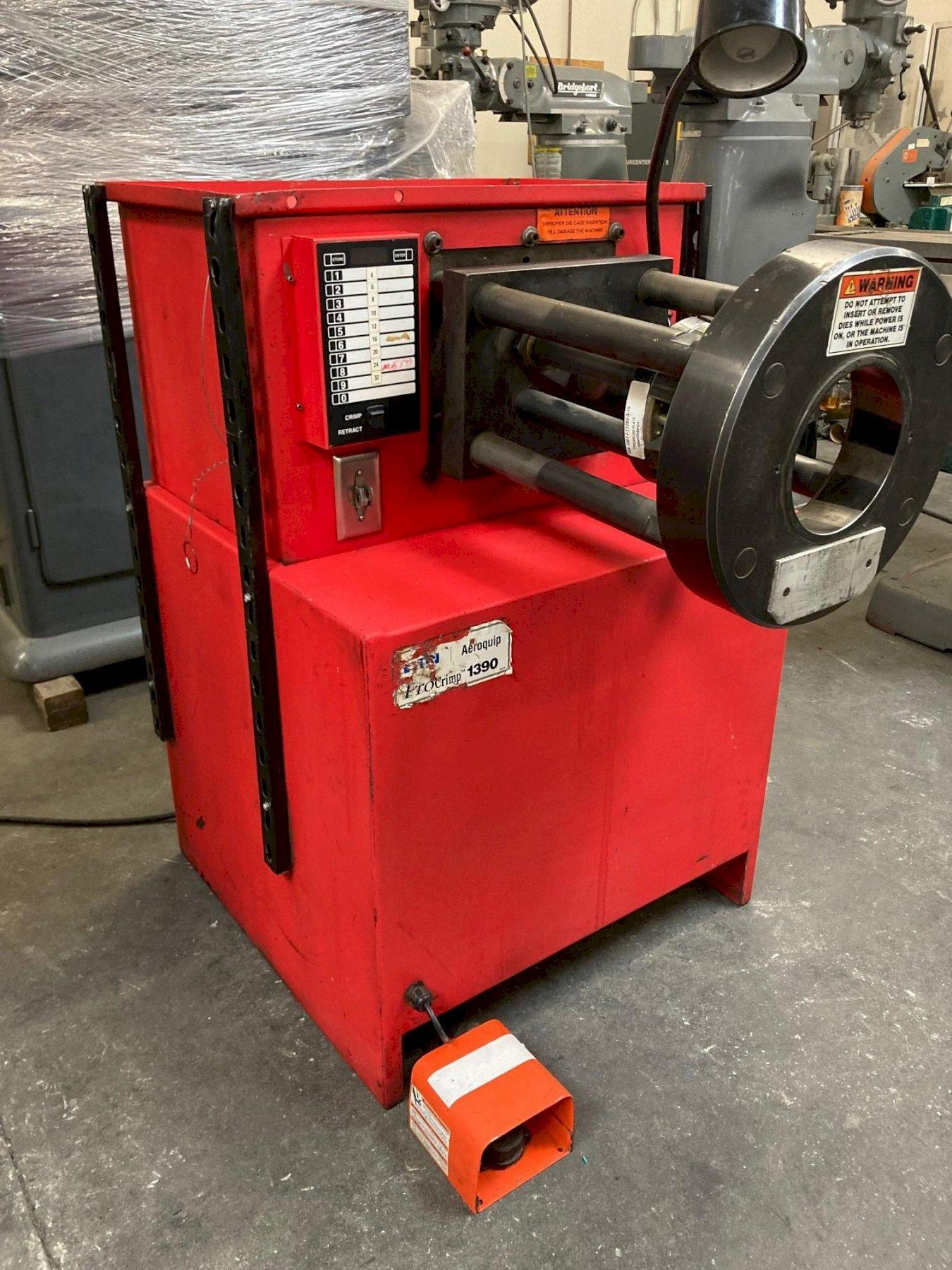 Eaton Aeroquip FT1390-115 Floor Hydraulic Hose Crimp Machine 2017 with: Electronic Programmable Keypad, 10 Crimp Diameter Presets, 2-Piece Master Die Cage, and Dies.