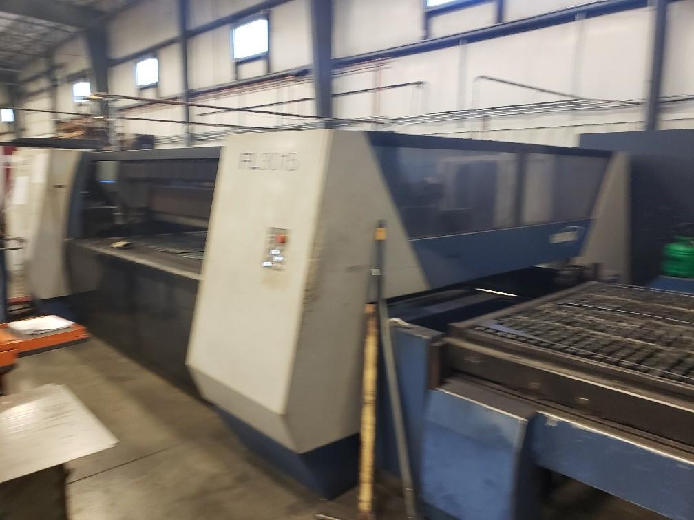 USED HANKWANG 5' x 10' MODEL FL-3015 FLYING-OPTICS 5,000 WATT CO2 LASER CUTTING SYSTEM, YEAR 2012, STOCK NO. 10636