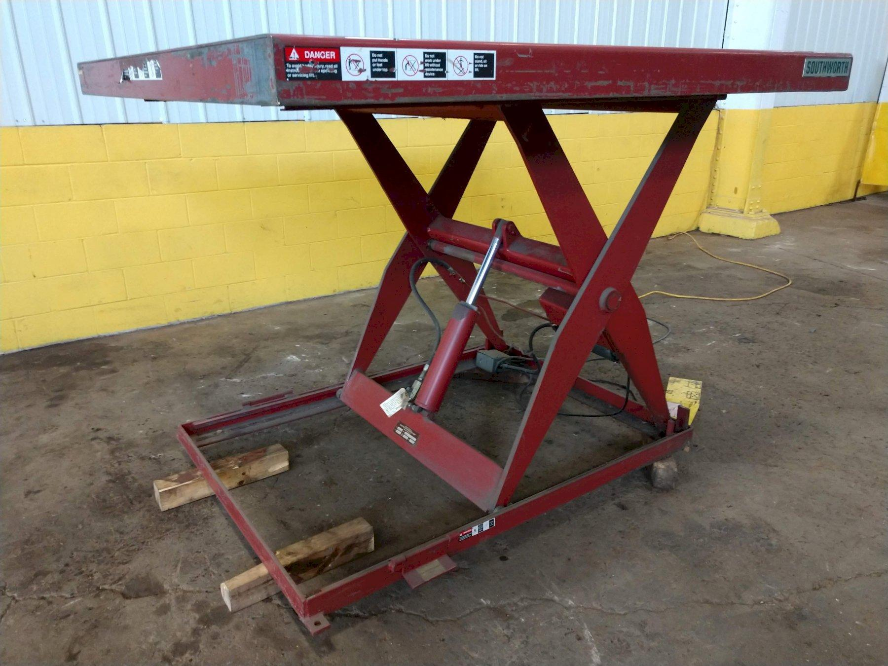 "2,000 LB X 72"" X 72"" SOUTHWORTH ELECTRIC SCISSOR LIFT TABLE: STOCK #13267"
