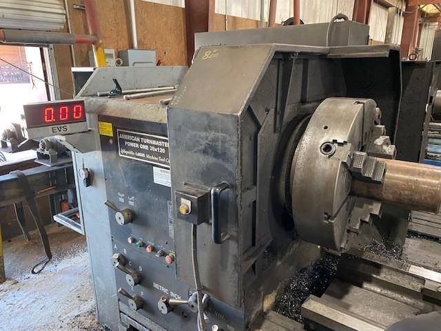 "USED, 35"" X 120"" LAGUN MODEL POWER ONE HOLLOW SPINDLE LATHE WITH 8"" SPINDLE BORE"
