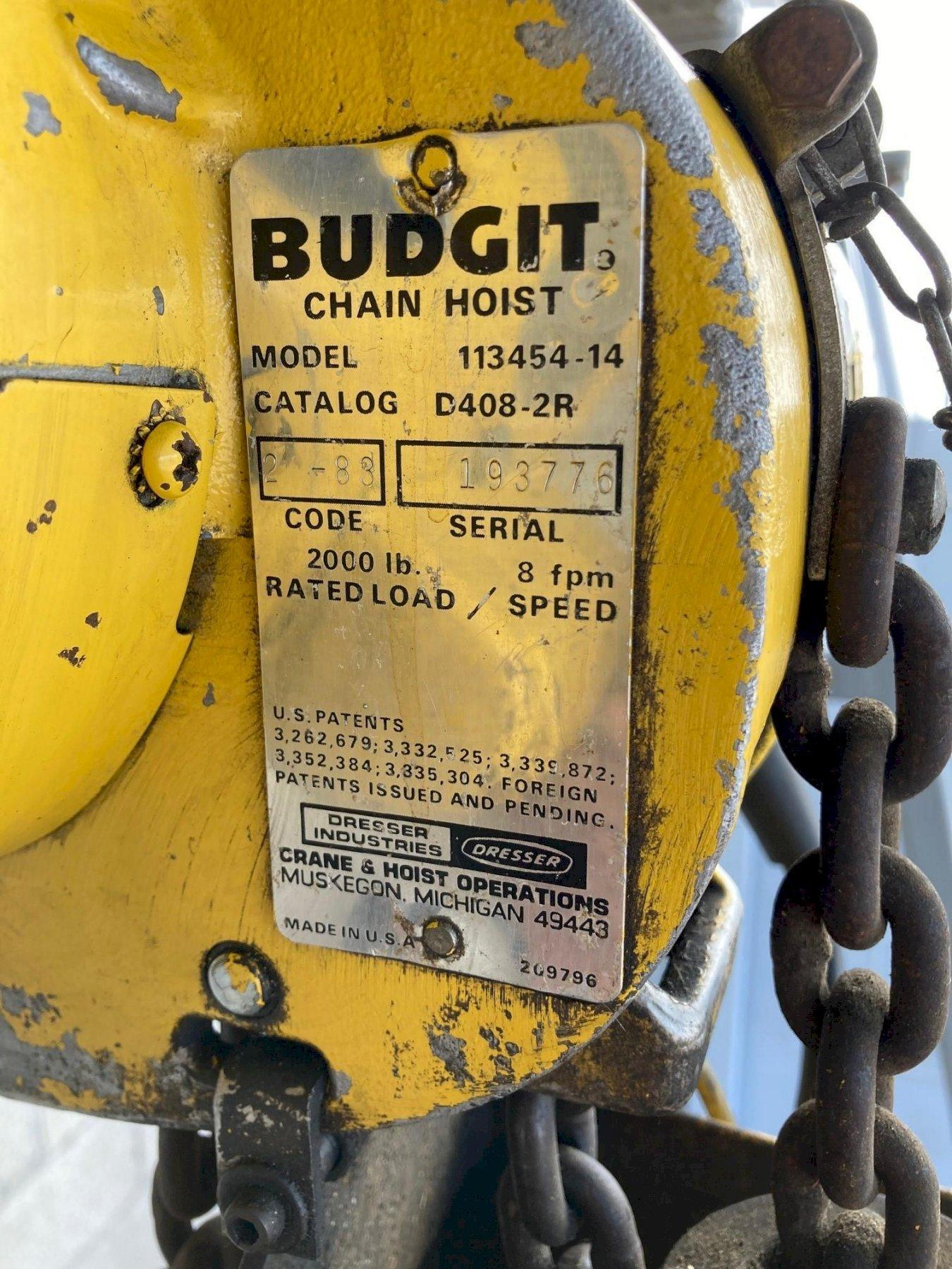 Budgit 1-Ton Electric Chain Hoist with A Frame