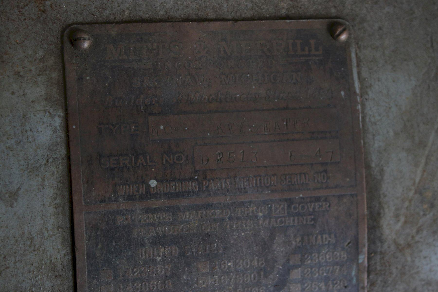"1-1/2"" X 12"" MITTS & MERRILL MECHANICAL KEYSEATER: STOCK #74053"
