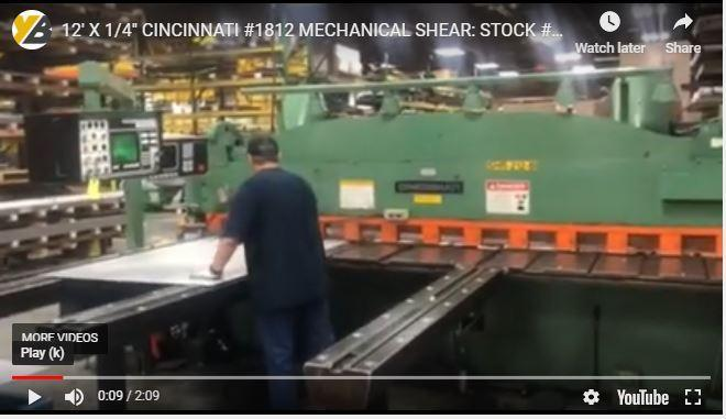 "12' X 1/4"" CINCINNATI #1812 CNC FRONT & REAR GAUGE PROGRAMMABLE MECHANICAL SHEAR: STOCK #11281"