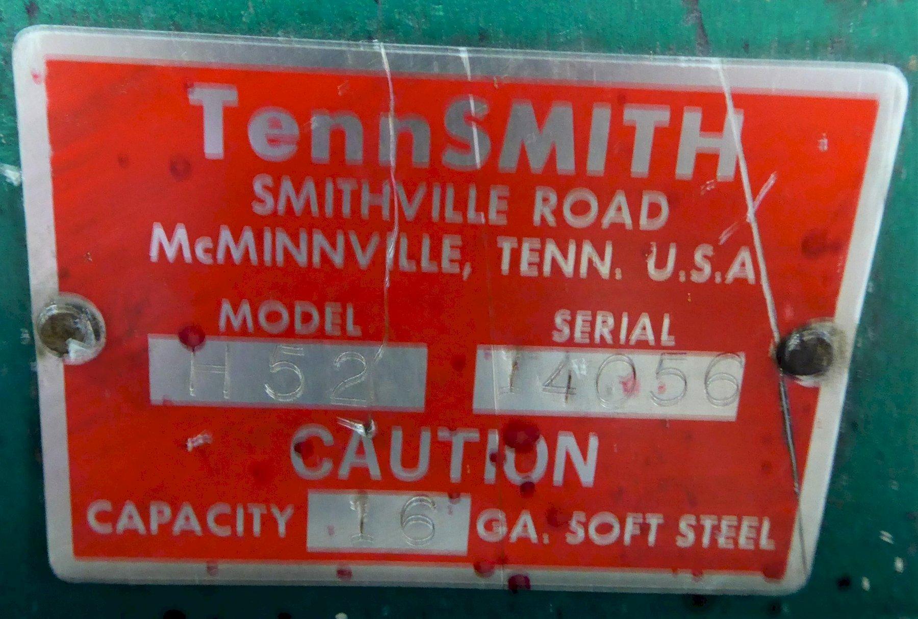 "52"" x 16 Ga. TENNSMITH Shear 52H, Hydraulic, Back Gage, Front Supports, Nice"