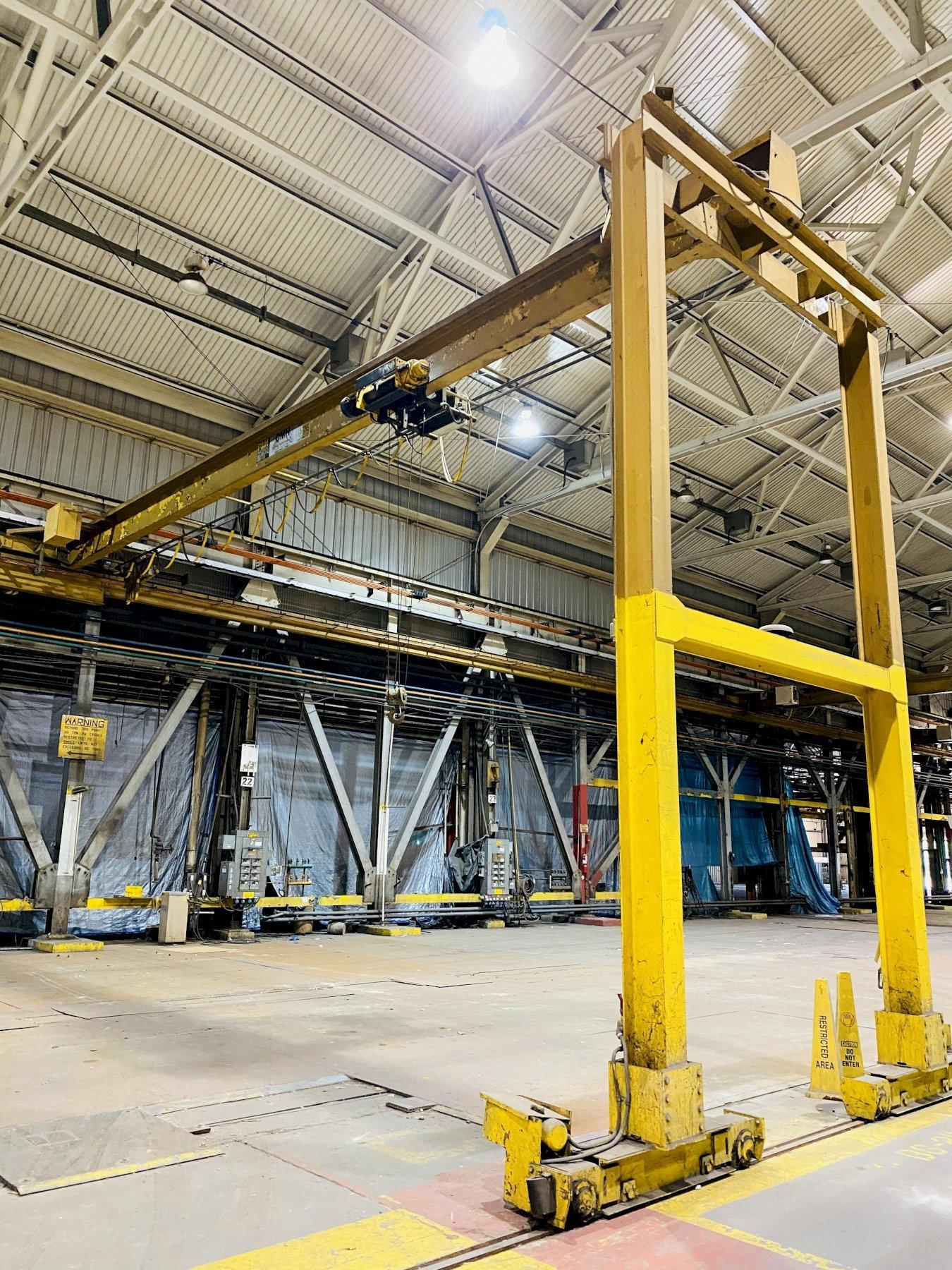 5 TON X 50' SPAN P&H SINGLE LEG GANTRY CRANE. STOCK # 0734220