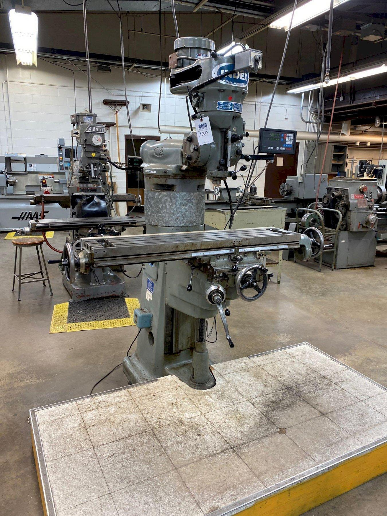 1 - PREOWNED INDEX VARIABLE SPEED VERTICAL MILL, MODEL #: 745, S/N: 14274