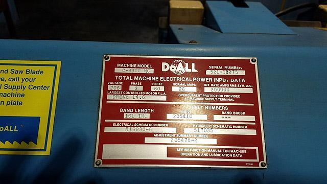 """13"""" x 16"""" DOALL AUTOMATIC Horizontal Band Saw, Model 3300NC, Programmable Auto Stock Feed, Auto Down Feed, Multi Index Feed, 5 HP, 1-1/4"""" Wide Blade, Coolant, New 1999."""