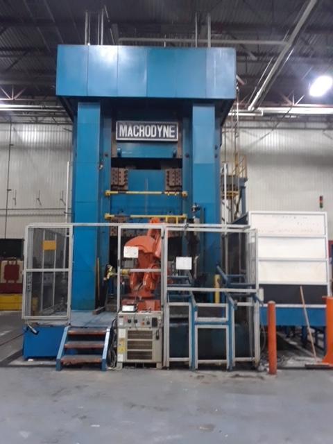 "2500 Ton Macrodyne Hydraulic Straight Side Press, 37"" STR, 76"" DLO, 82"" x 172"" BA, 1999"