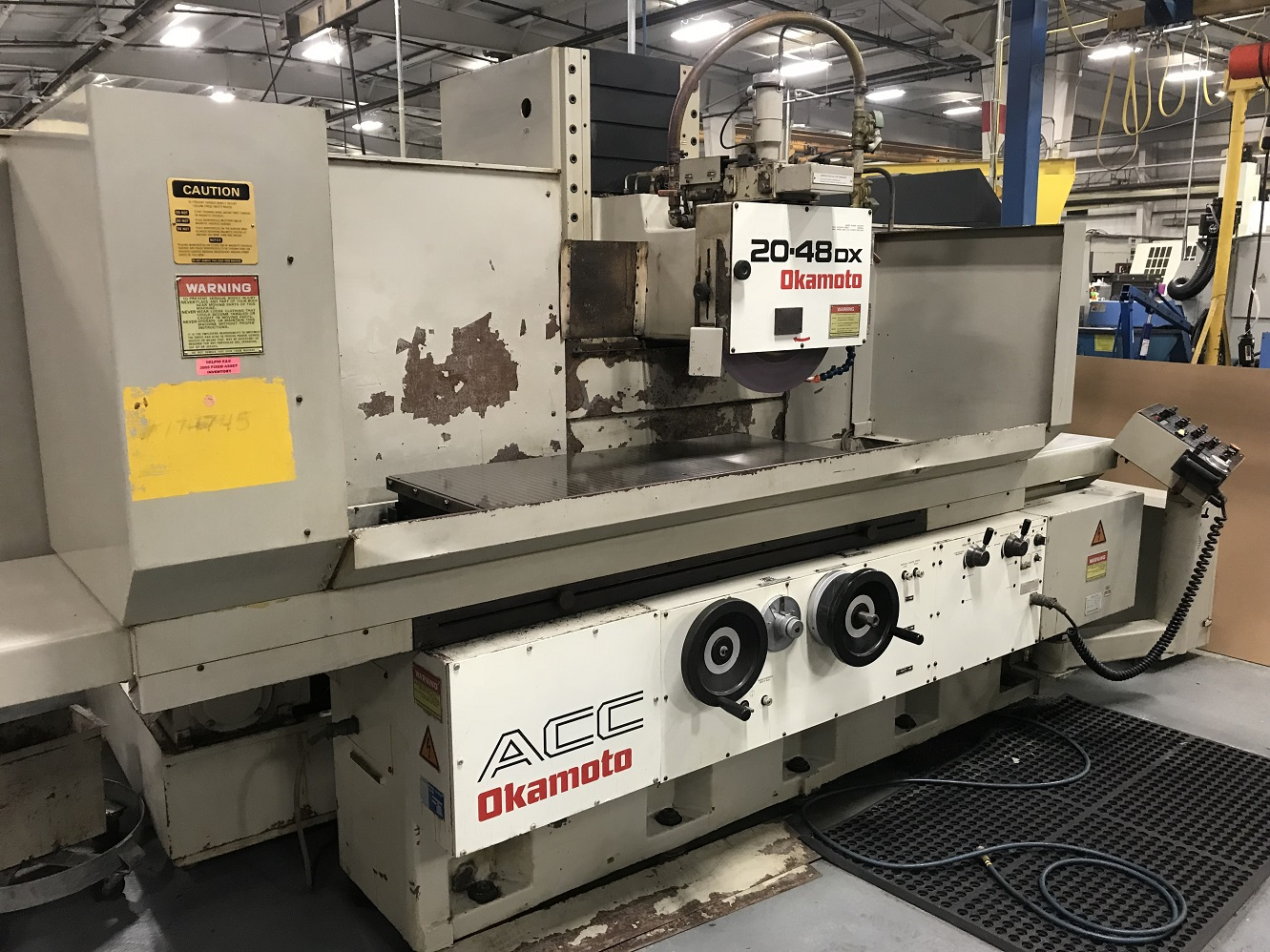 Okamoto ACC20-48DX, DX Control w/LED Display, Incr Downfeed, OTW Hyd Dresser, Sparkout, Rough/Fine Finish, Plunge, Coolant, Ballscrew on Vertical, 5 HP, 1994