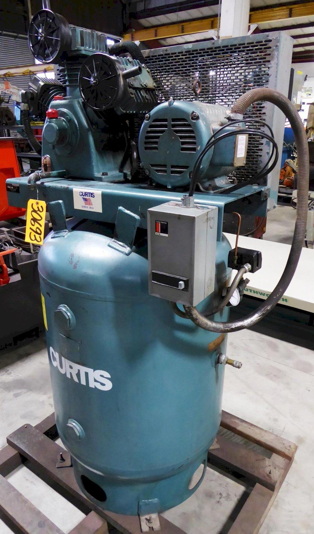 10 HP Curtis Air Compressor No. 10VT12-A3, 34 CFM @175 PSI, Three Cylinder-Two Stage,  120 Gallon Vertical Tank