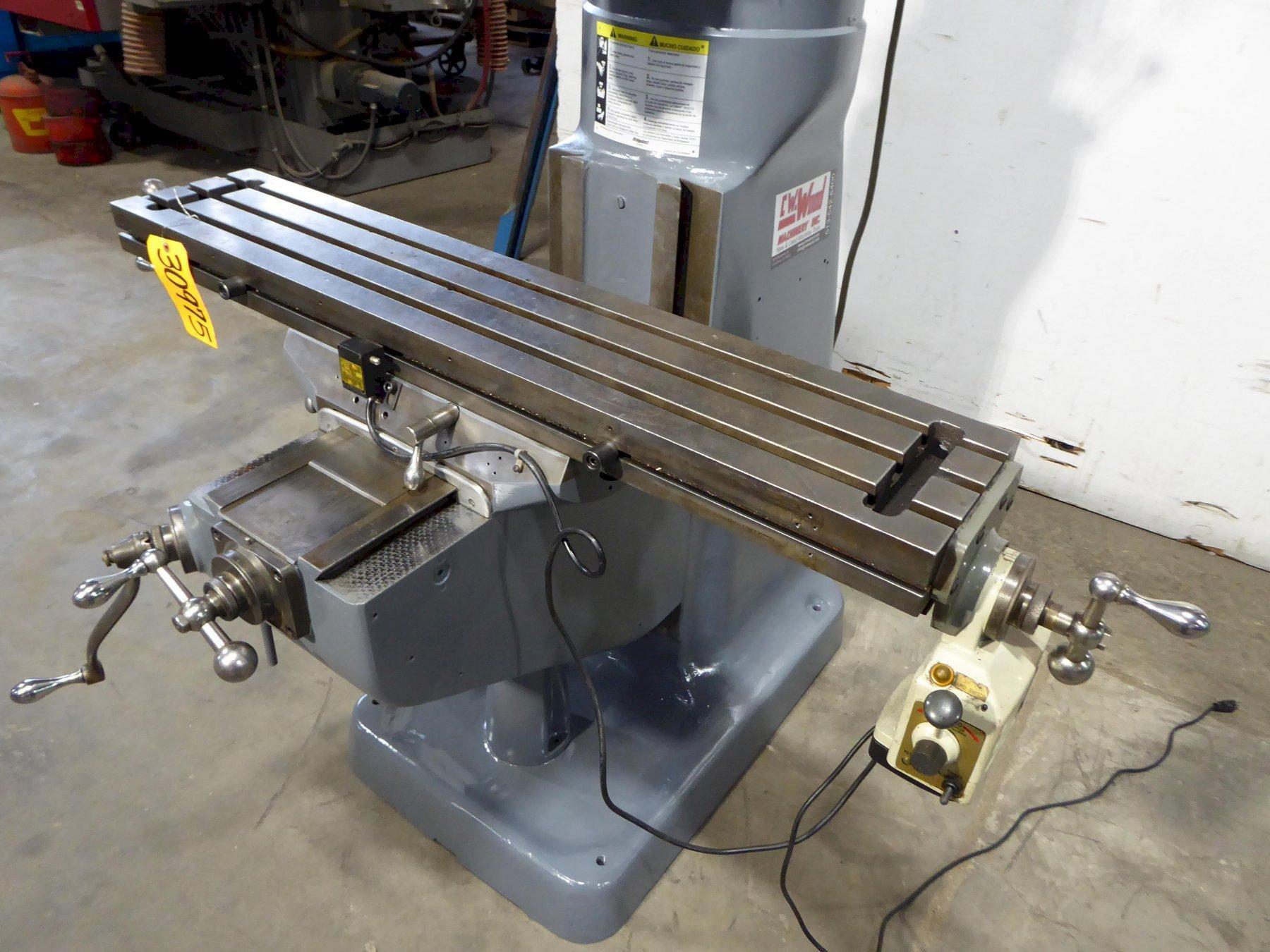 "Bridgeport Vertical Mill Series I, 9"" x 48"" PF Tbl., 1-1/2 HP, Clean"