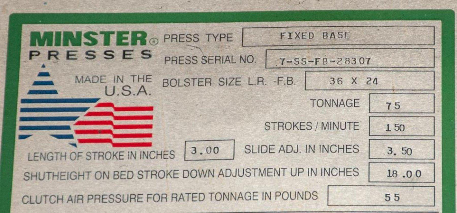 75 TON MINSTER MODEL #7 GAP FRAME PRESS: STOCK #15353