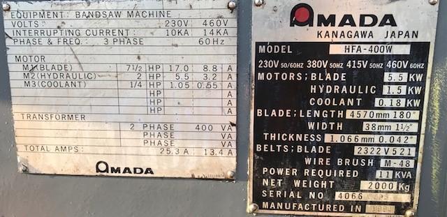"16"" X 16"" AMADA MODEL #HFA400W AUTOMATIC HORIZONTAL BAND SAW"