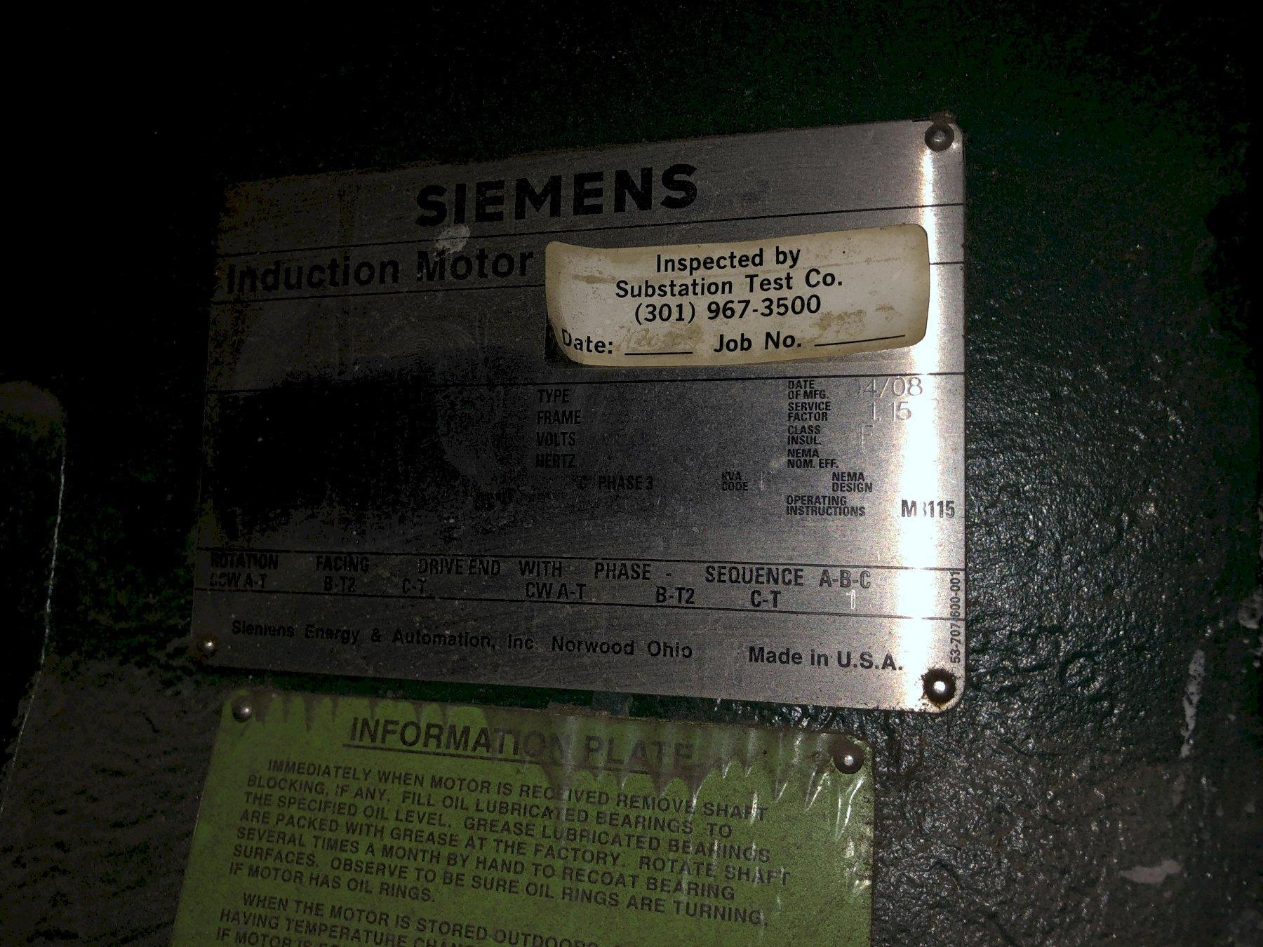 2008 recycle blower system with Siemens 1750 hp motor 6600 volt s/n 079172?020-1, Falk dolrs-gear-ooo2e gearbox, Harman 800gsl blower model 80tycsleaa s/n hds299??