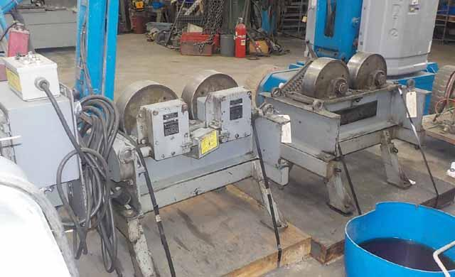 20,000 lbs. Aronson WSD 10 and WSI 10 Steel Wheeled Tank Turning Rolls, (1) 10,000 lb driven, (1) 10,000 lb Idler, 6-13 dia. variable speed, 1986
