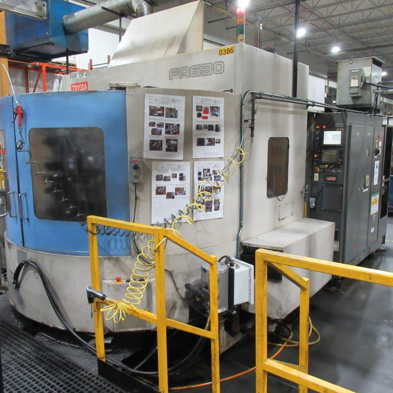 TOYODA FA-630 HORIZONTAL MACHINING CENTER, HIGH PRESSURE THROUGH SPINDLE COOLANT, YEAR 2004 (4 Machines Available)