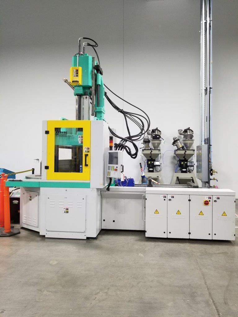Arburg Used 1500 T 1600-400 Vertical Rotary Molding Machine, 176 US ton, Yr. 2014, 10.3 oz.