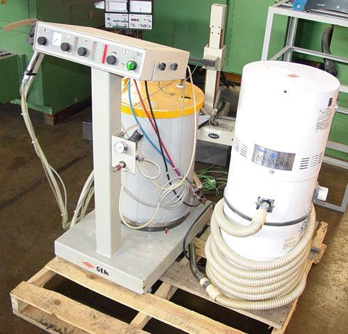 GEMA PGC-1 POWDER COATING SYSTEM, Hopper, Paint Gun, Nutone Advantage Vacuum System.