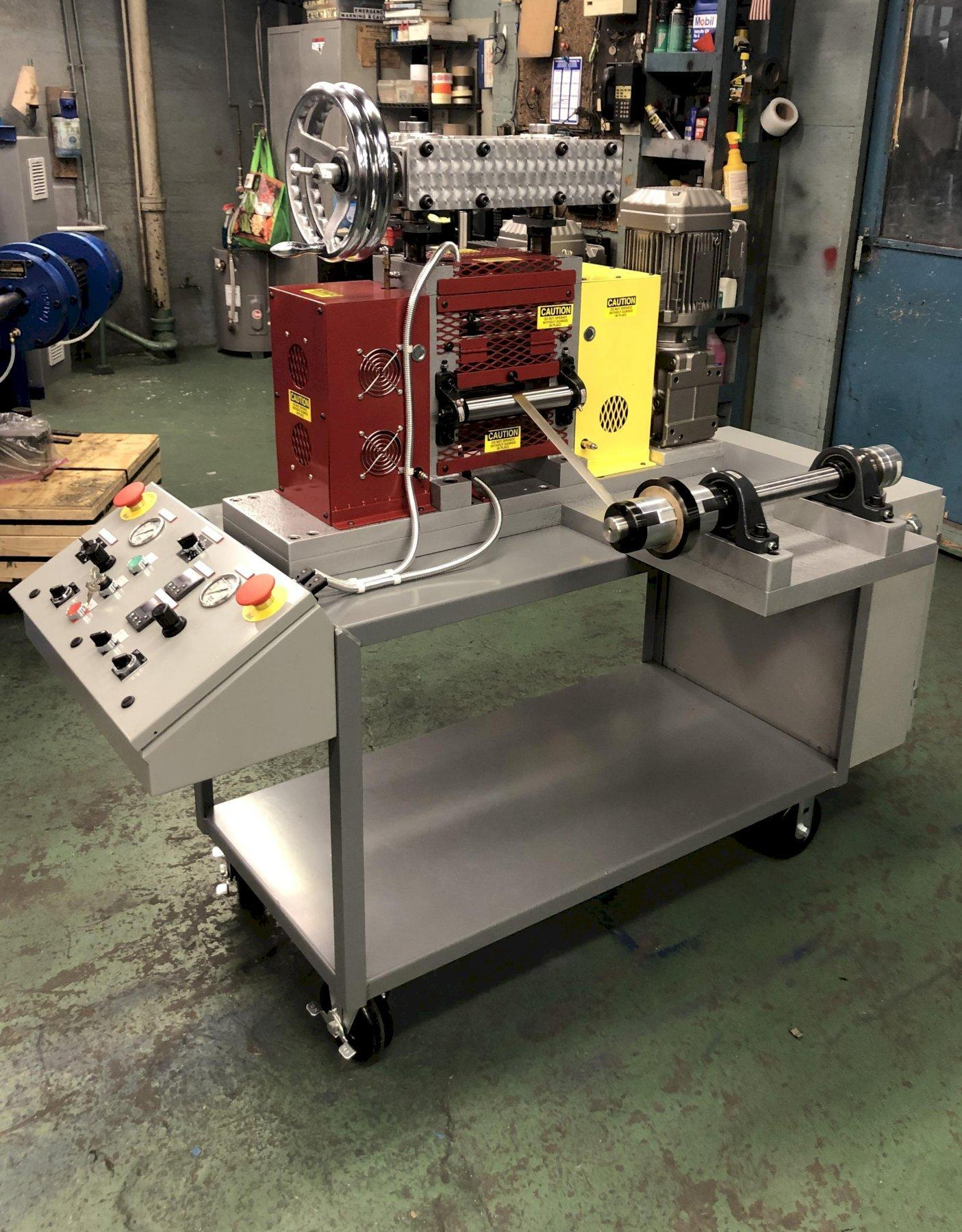 """IRM MODEL 4060H 4"""" X 6"""" 4HI HOT LAB ROLLING MILL - INCLUDES PRE-HEATED ROLLS, DUAL SIDEWHEEL SCREWDOWN ASSEMBLY, AND PAYOFF AND RECOILER SYSTEM"""