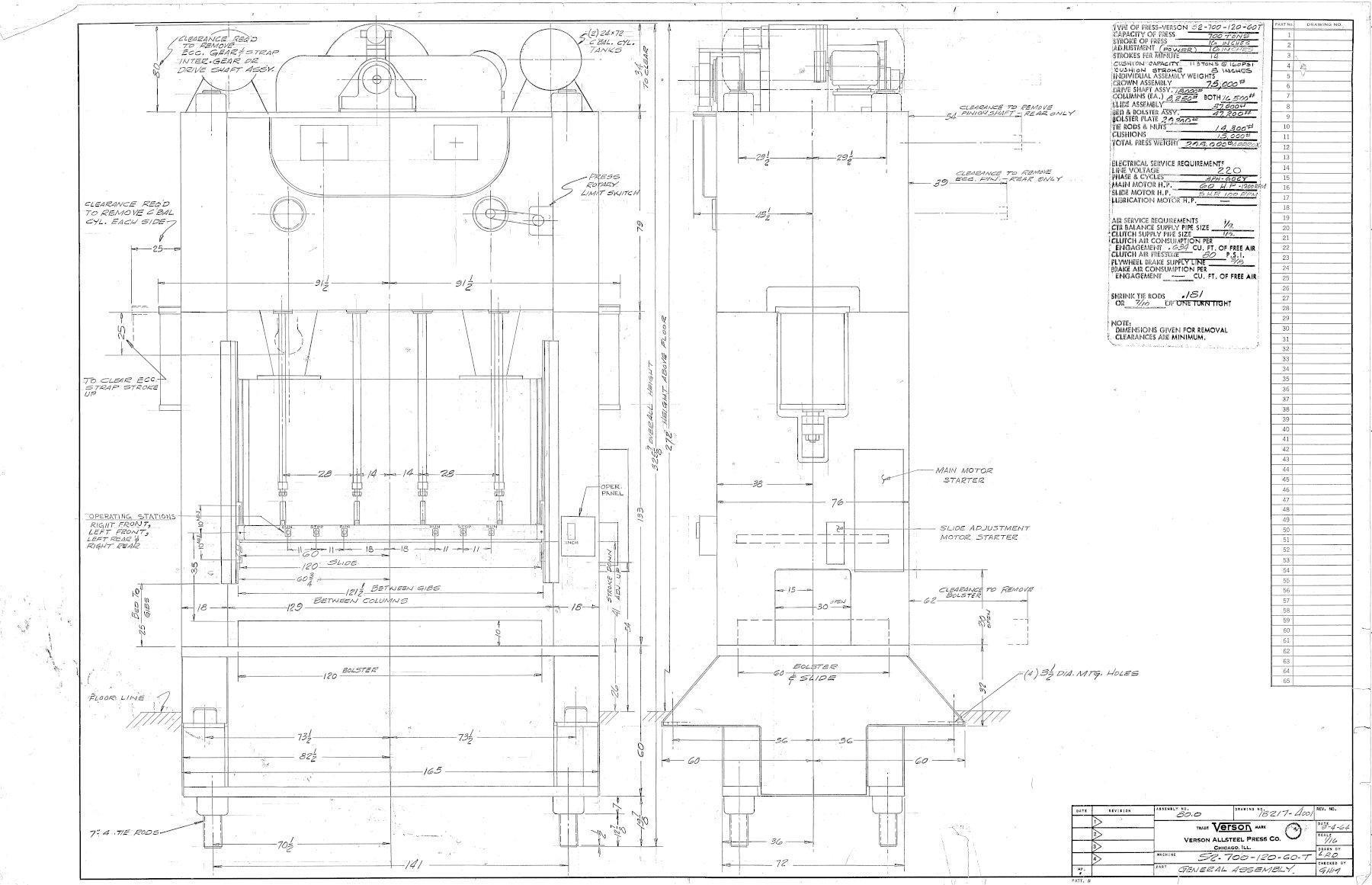 """600 Ton VERSON S2-600-120-60, 16"""" Str., 40"""" SH., 12"""" Adj., 16 SPM, 30"""" Windows"""