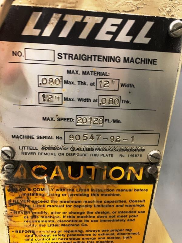 "12"" x .08"" LITTELL MODEL 312-7PDL STRAIGHTENING MACHINE"