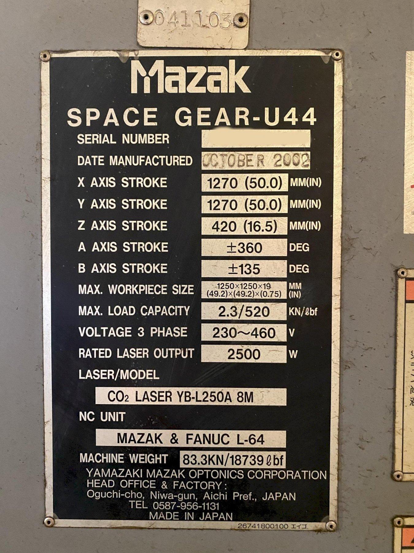 USED MAZAK SPACEGEAR MODEL U44 2,500 WATT FLYING OPTICS CO2 LASER, Year 2002, Stock # 10823