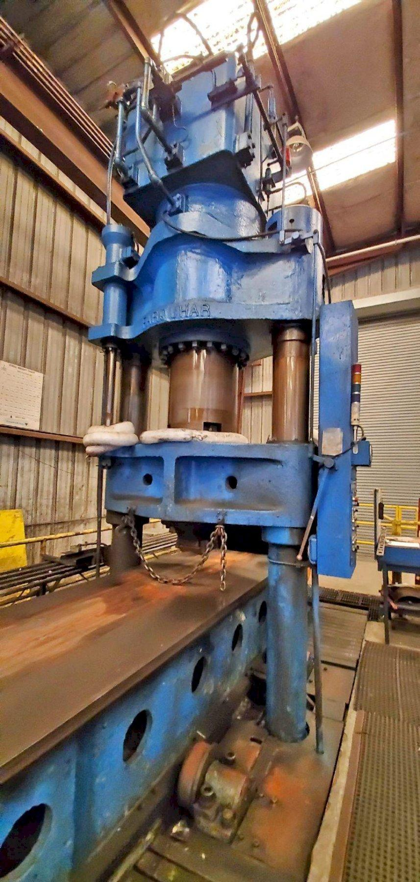 1000 TON FARQUHAR 2-POST TRAVELING HEAD HYDRAULIC STRAIGHTENING PRESS: STOCK #13294